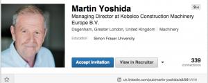 Phoney Linked In profile for Martin Yoshida