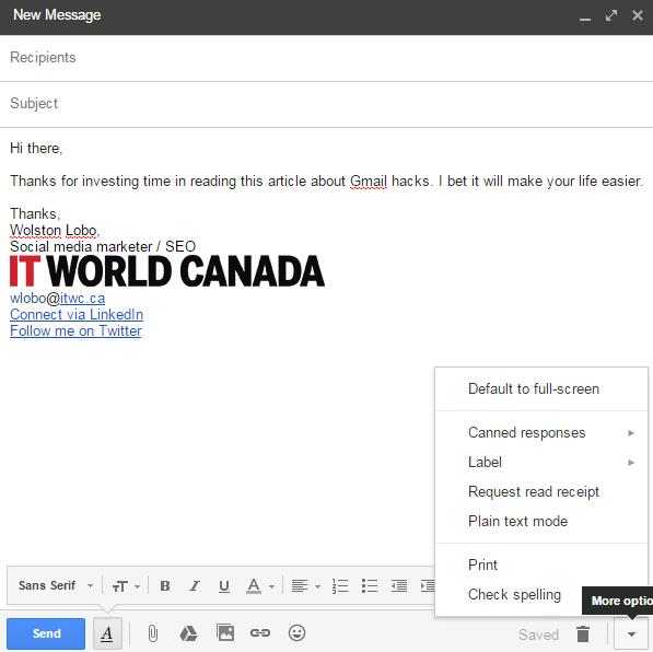 Gmail compose, New email creation, create a mail