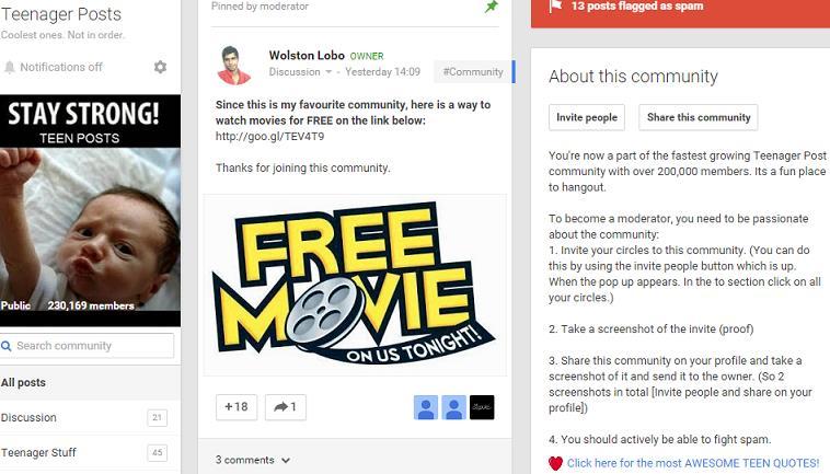Google Plus communities pinned post