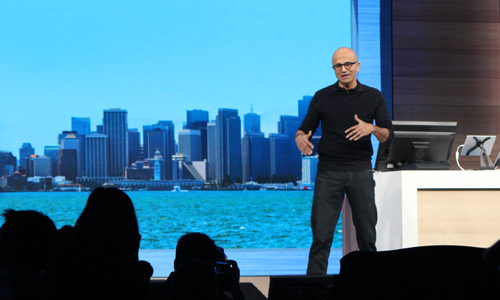 Satya Nadella, CEO of Microsoft, delivers the keynote at Build 2015 in San Francisco.