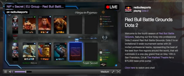 Red Bull is one brand that advertises on Twitch, as seen with its sponsored channel here.