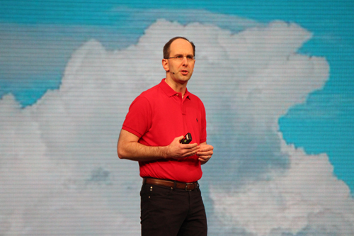 Scott Guthrie, executive vice president of cloud and enterprise, Microsoft Corp. on stage at Build 2015.
