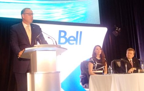 Bell president and CEO George Cope (left) announces Gigabit Fibe is coming to Toronto.