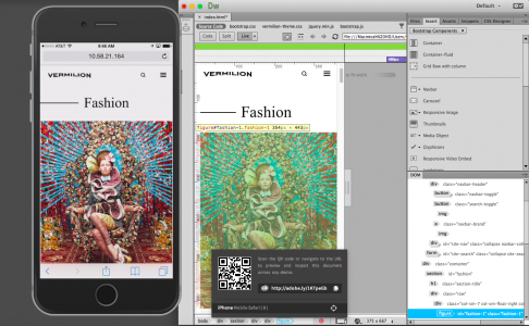 Device preview in Adobe Dreamweaver 2015