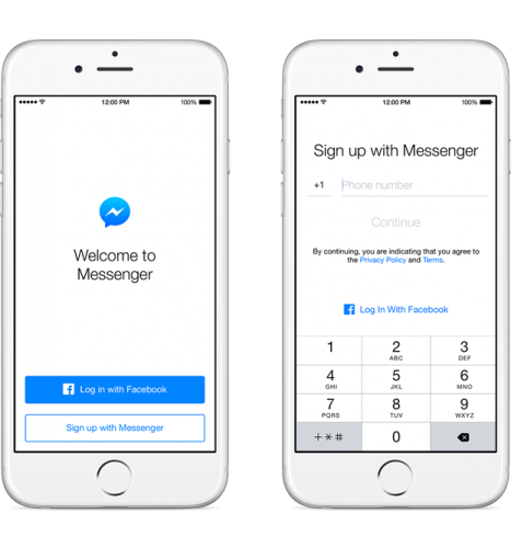Facbook-Messenger account creation