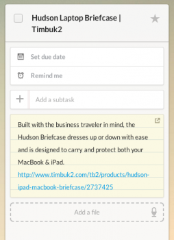 Notes in Wunderlist
