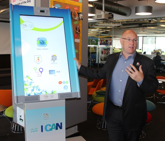 Just 17 days before the start of the Pan Am Games, Seifert shows off an interactive kiosk.