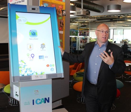 Just 17 days before the start of the Pan Am Games, Seifert shows off an interactive kiosk.