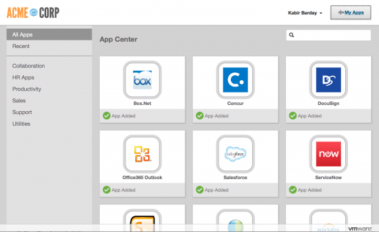 VMware Identity Manager app center