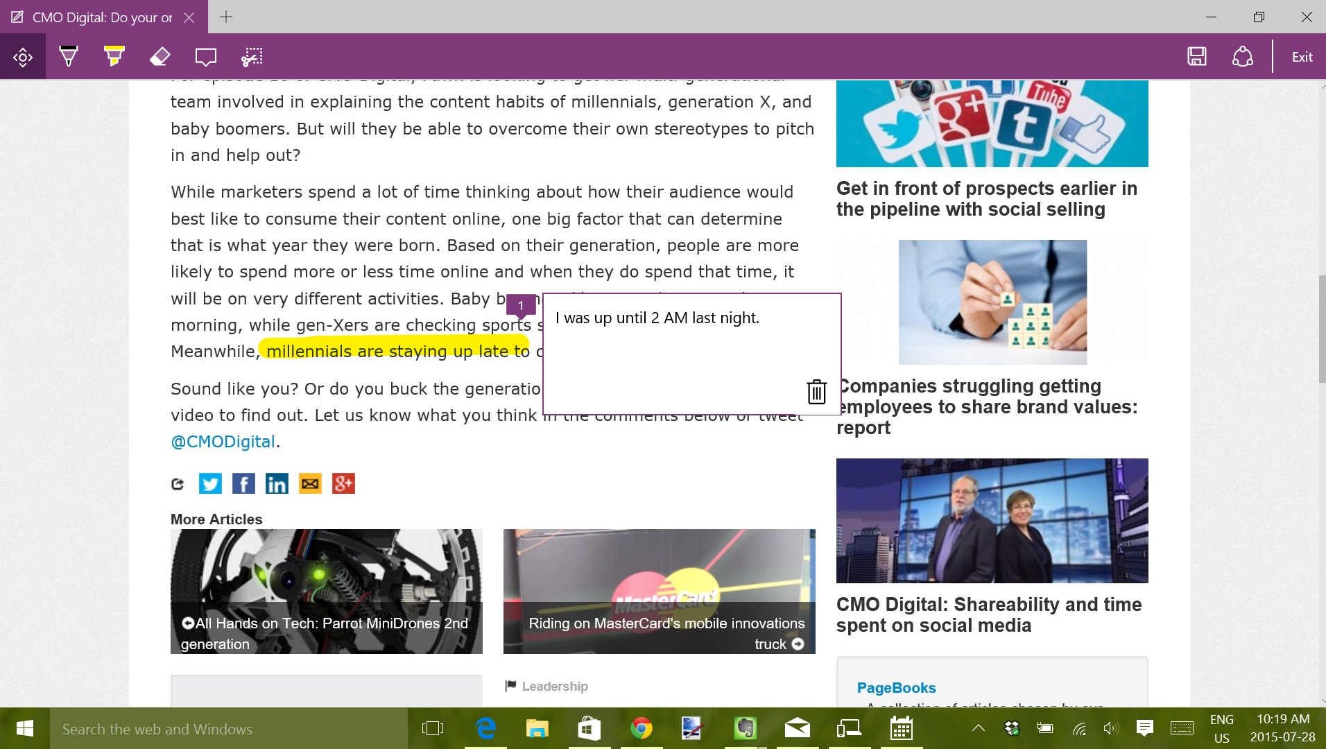 Make notes on web pages when browsing with Microsoft Edge.