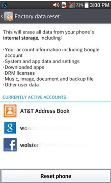 Factory data reset on mobile phones