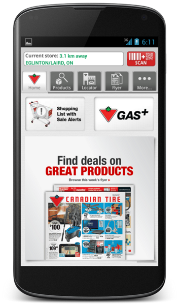 The Canadian Tire mobile app for Android.