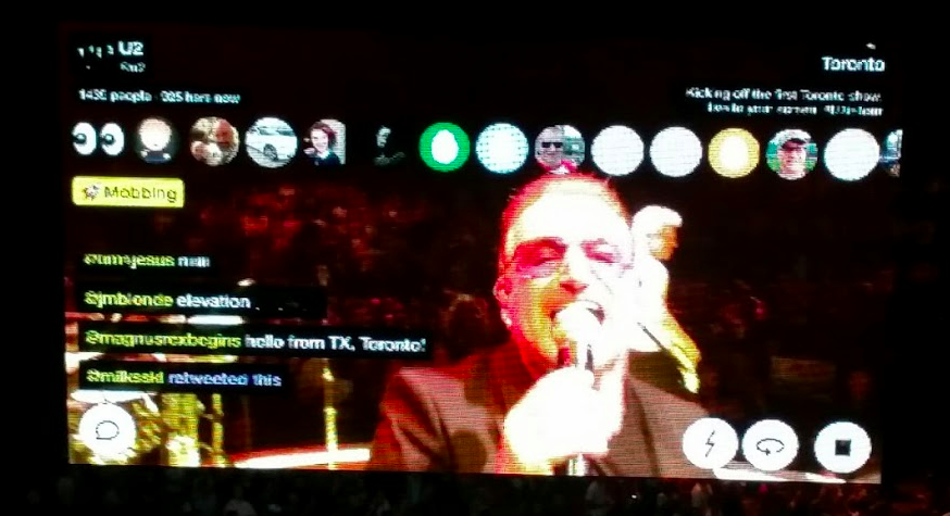 Bono of U2 on their Meerkat channel during a stop in Toronto