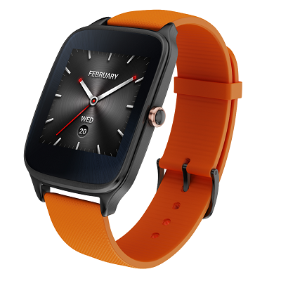 ASUS ZenWatch 2_ _Gunmetal_Orange Rubber