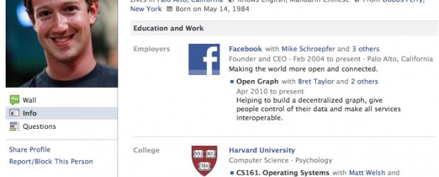 Mark Zuckerberg Facebook Profile