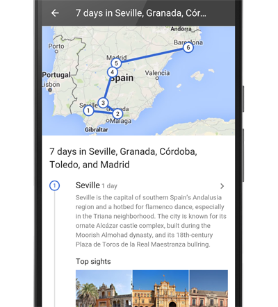Google Destinations - Country Itinerary with Map