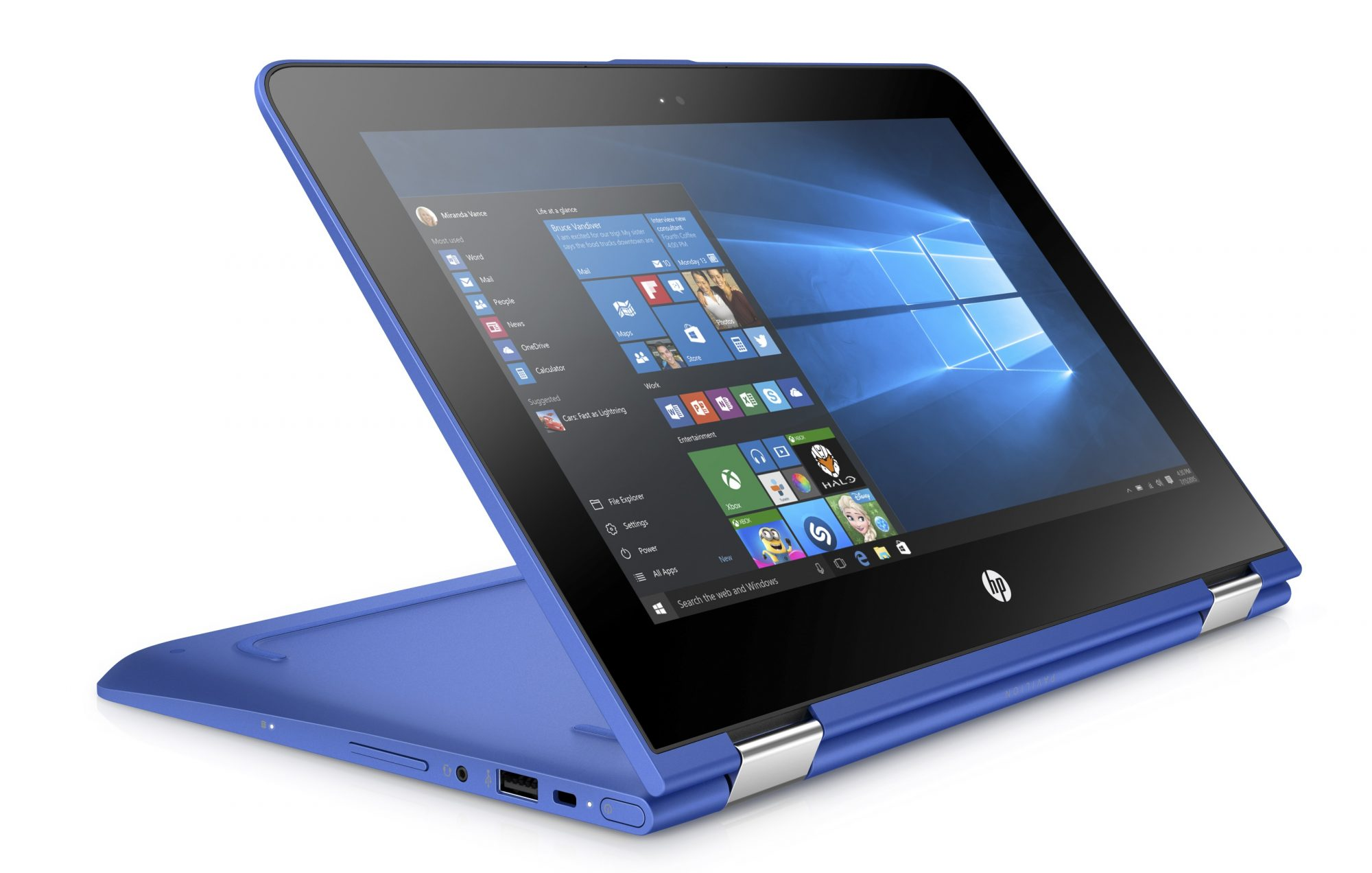 HP back to school slideshow 1 - HP Pavilion x360 11_Media Mode_Dragonfly Blue_Right Facing-2