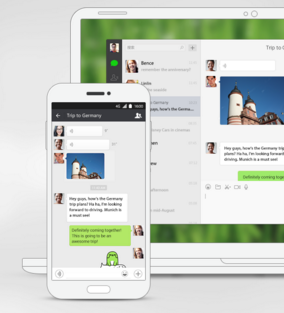 Wechat is a chat application available on desktop and mobile.