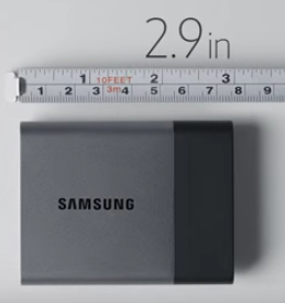 Samsung's Portable SSD T3 drive easily fits into the palm of your hand.