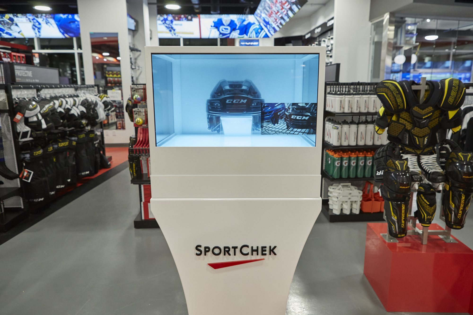Sport Chek Robson St_3D hologram showcase boxes_1
