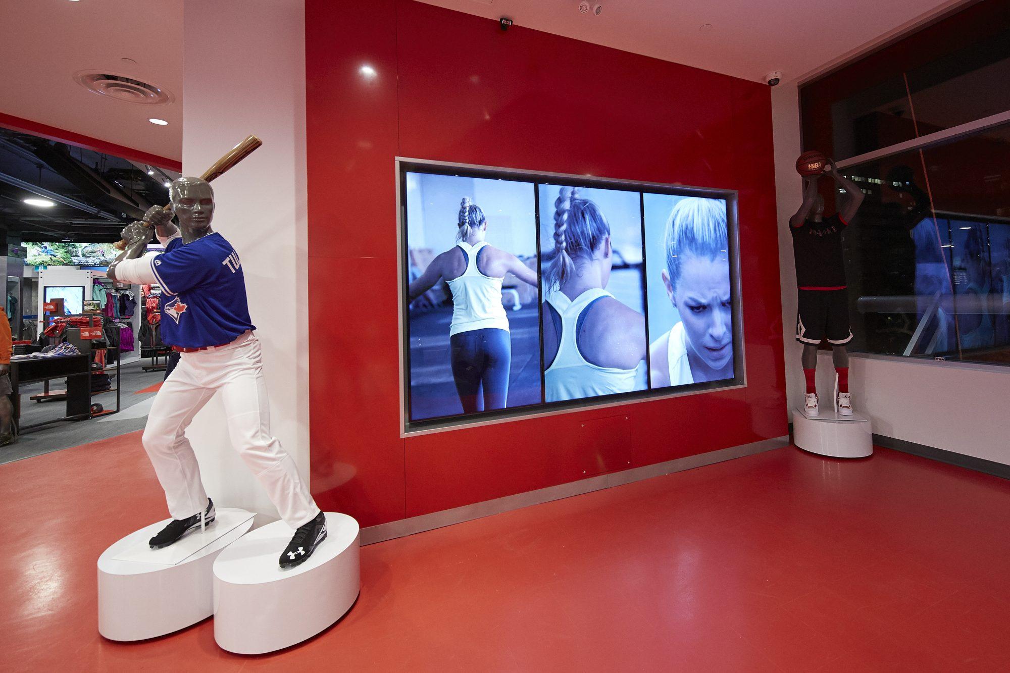 Sport Chek Robson St_display screens