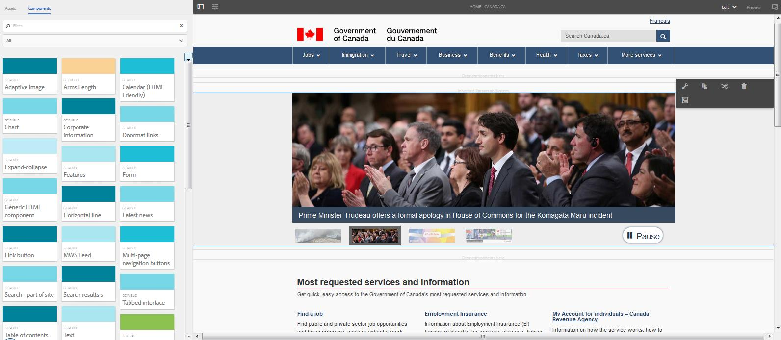 A view of Canada.ca's home page from inside Adobe Experience Manager, the new CMS used for the portal. (Click for larger version.)