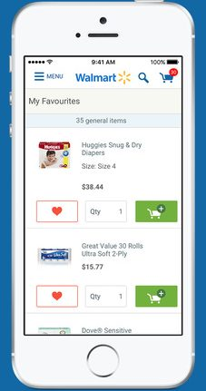 Walmart Online Shopping lets users compile a favourites list.