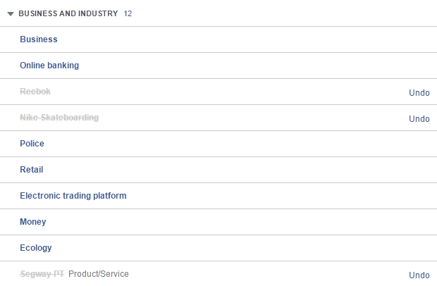 Facebook thinks I'm interested in Nike, Reebok, and Segways for some reason.