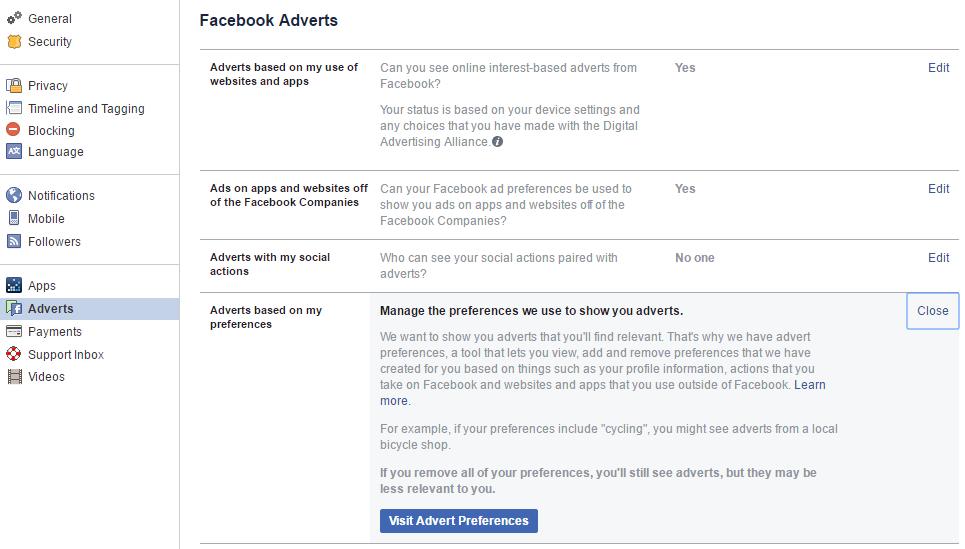 Facebook ad preferences screenshot