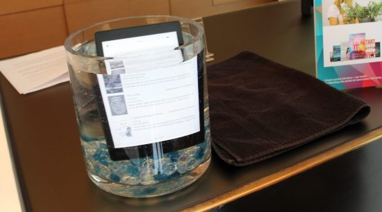 The Kobo Aura One is rated as waterproof for a two metre depth for up to 60 minutes.