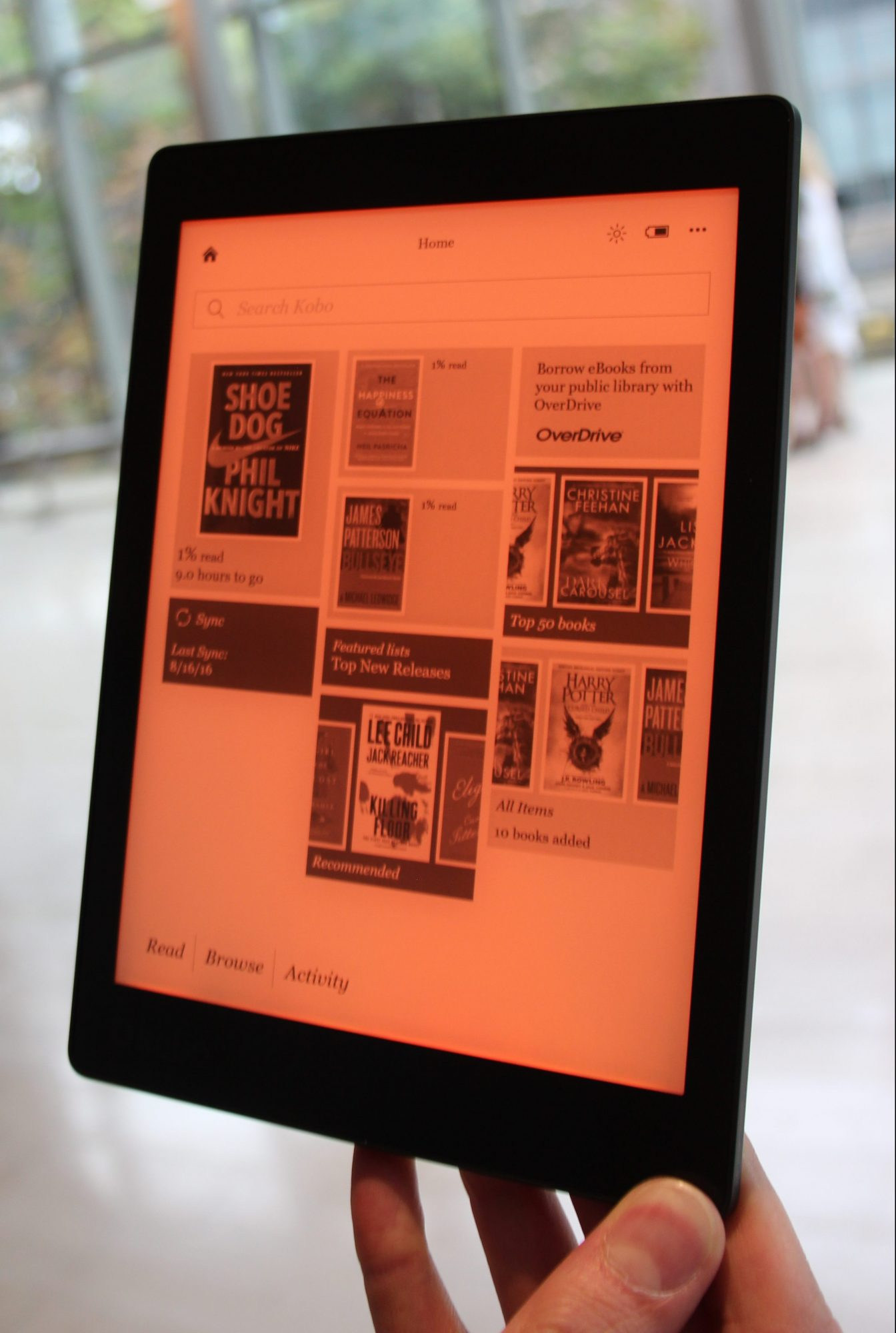 Kobo Aura HD - red light spectrum