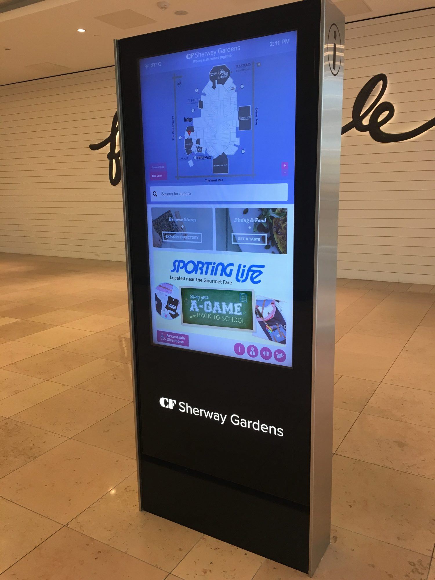 A Mappedin-powered digital kiosk at Cadillac Fairview's Sherway Gardens in Etobicoke, Ont.