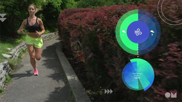 Among other features, the OmBra's accompanying OmRun app is capable of counting steps, measuring breathing, and tracking a user's heart rate.
