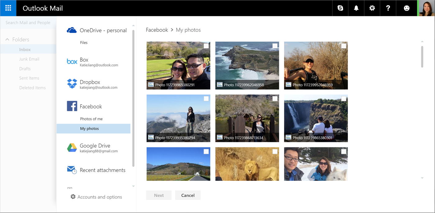 Adding Facebook photos through Outlook. (Courtesy Microsoft)