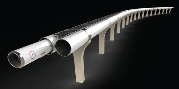 TransPod's hyperloop track rendering. (Courtesy Transpod)