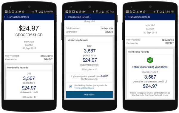 Using Use Points for Purchases to pay a grocery bill. (Courtesy American Express)