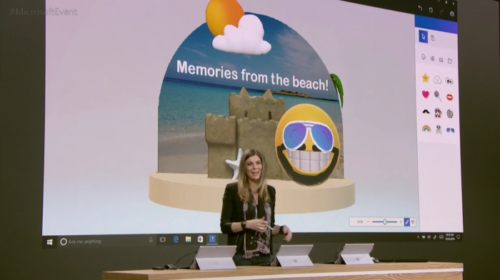Megan Saunders demonstrating Paint 3D.