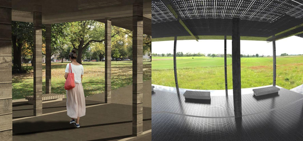 Diaz's project as rendered (left) and in virtual reality (right).