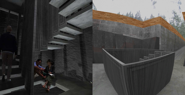 Joo's project as rendered (left) and in virtual reality (right).