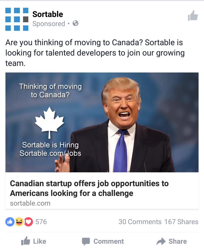A Facebook ad by Kitchener, Ont.-based tech startup Sortable encouraging American tech workers to move to Canada. (Source: Sortable website)