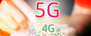 5G networking concept. Businessman using smart phone and touchin
