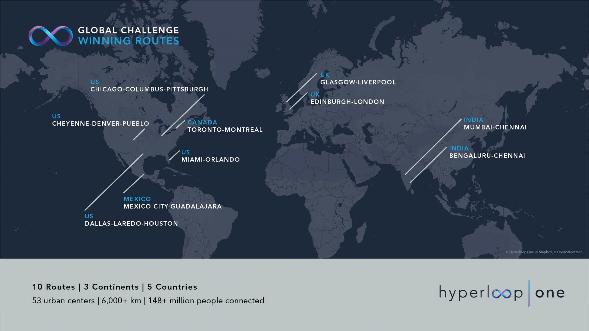 Hyperloop One picks 10 possible hyperloop routes around the world