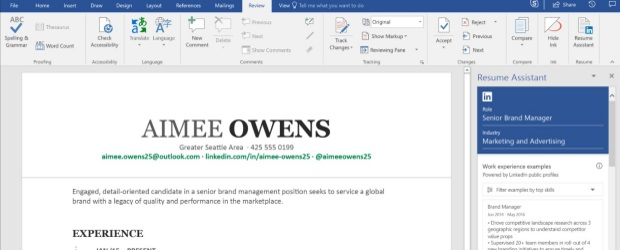 linkedin  u0026 39 resum u00e9 assistant u0026 39  rolling out on microsoft word