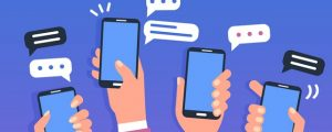 animated picture of people holding cellphones.