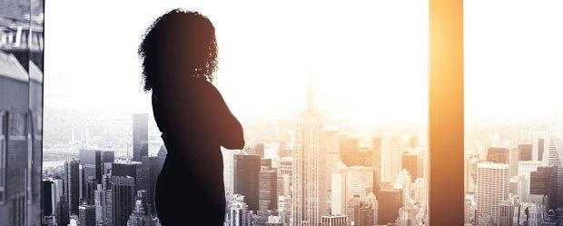 silhouette of female executive