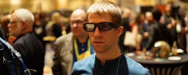 Aaron Grant, co-founder of North wears Vuzix smart glasses