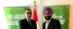 Navdeep Bains with Nokia exec at World Economic Forum