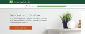 TD Digital Mortgage Application
