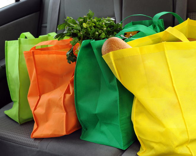 Shopping bags in the car