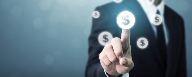 Image of Businessman pointing dollar currency icon, Successful money financial investment concept